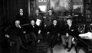Οι ηγέτες των Συμμάχων στη Συνδιάσκεψη των Παρισίων: Βιττόριο Ορλάντο, Ντέιβιντ Λόυντ Τζώρτζ και Γούντροου Γουίλσον