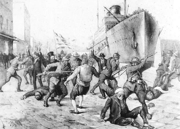 Η εκμετάλλευση των γεγονότων: ιταλική προπαγανδιστική εικόνα για τα επεισόδια της αποβίβασης στη Σμύρνη.